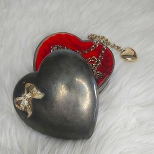 ClearOut Item Vintage Antique Silver Heart Shaped Trinket Box